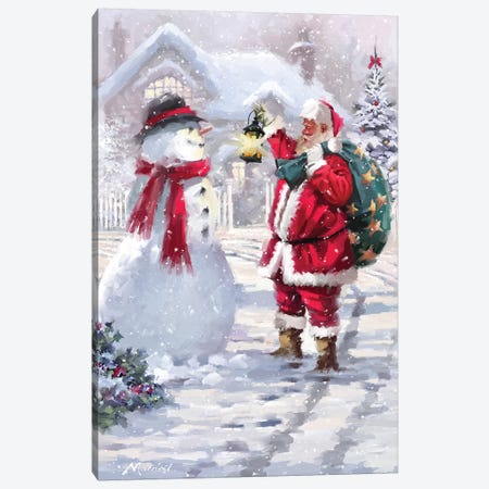 Santa With Lantern Canvas Print #MNS555} by The Macneil Studio Canvas Wall Art