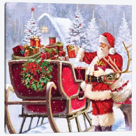 Santa With Presents Canvas Print #MNS556} by The Macneil Studio Canvas Art