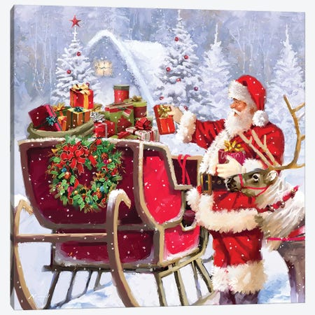 Santa With Presents Canvas Print #MNS556} by The Macneil Studio Canvas Art