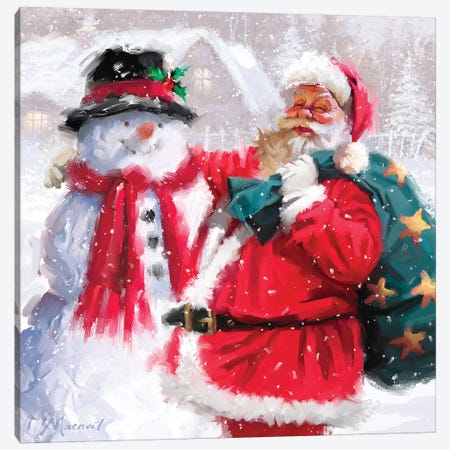 Santa With Snowman Canvas Print #MNS560} by The Macneil Studio Canvas Artwork