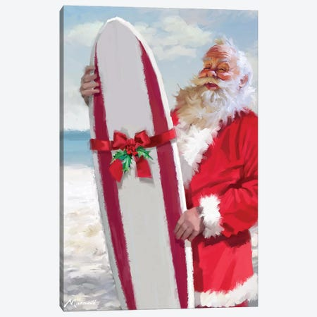 Santa With Surfboard Canvas Print #MNS561} by The Macneil Studio Canvas Artwork