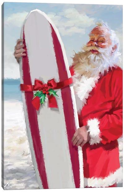 Santa With Surfboard Canvas Art Print