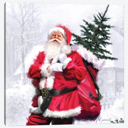 Santa With Tree Canvas Print #MNS562} by The Macneil Studio Canvas Artwork