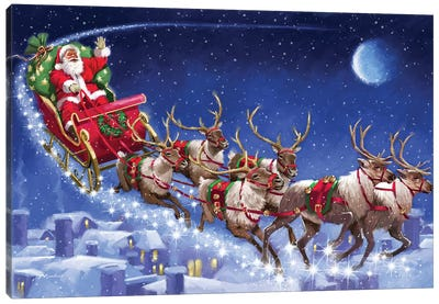 Santa's Sleigh Canvas Art Print