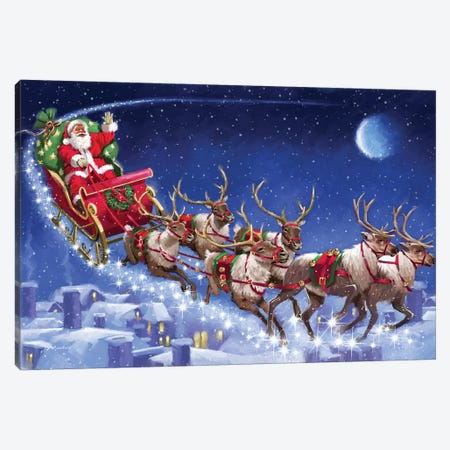Santa's Sleigh Canvas Print #MNS565} by The Macneil Studio Canvas Art Print