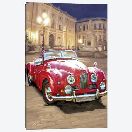 Red Sports Car Canvas Print #MNS56} by The Macneil Studio Canvas Artwork
