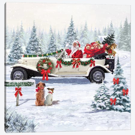 Santa's Car Canvas Print #MNS570} by The Macneil Studio Canvas Art Print