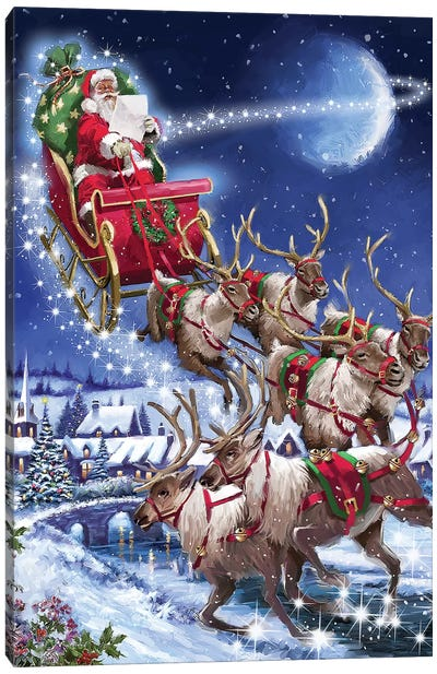 Santa's Sleigh Team USA Canvas Art Print