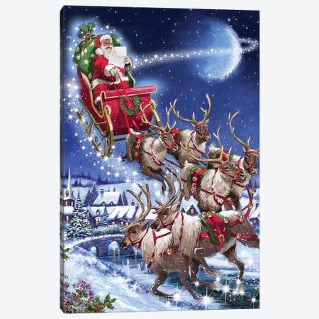 Santa's Sleigh Team USA Canvas Print #MNS575} by The Macneil Studio Canvas Wall Art