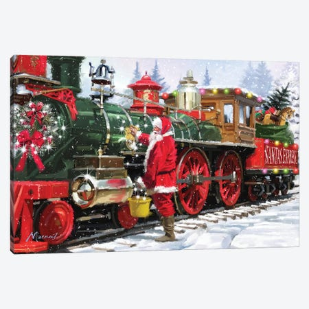 Santa's Train II Canvas Print #MNS577} by The Macneil Studio Canvas Art