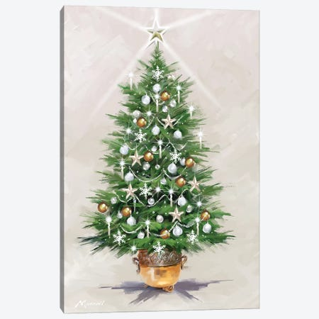 Silver Gold Xmas Tree Canvas Print #MNS588} by The Macneil Studio Canvas Artwork