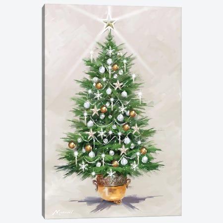 Silver Gold Xmas Tree Canvas Print #MNS588} by The Macneil Studio Canvas Artwork