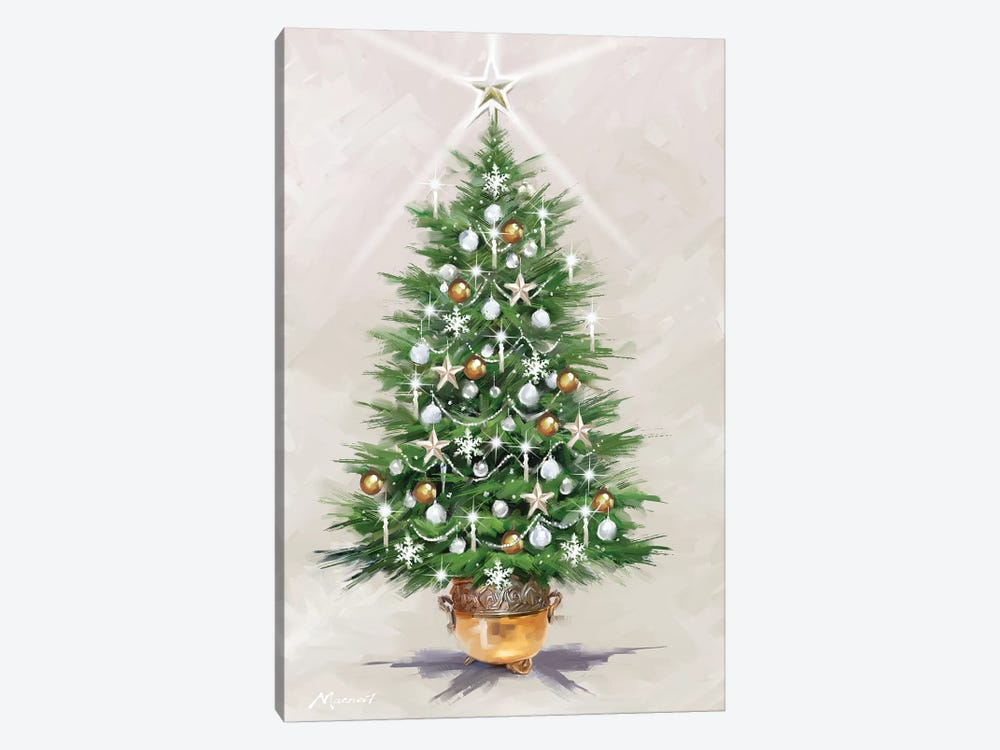 Silver Gold Xmas Tree by The Macneil Studio 1-piece Canvas Print