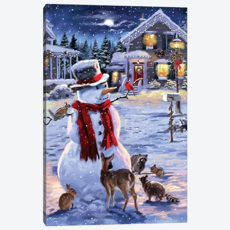 Snowman And Animals Canvas Print #MNS616} by The Macneil Studio Canvas Print