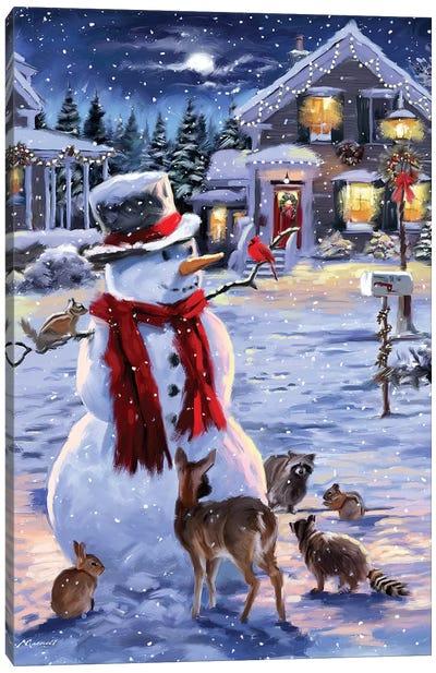 Snowman And Animals Canvas Art Print