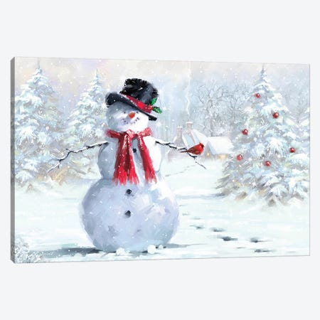 Snowman And Cardinal Canvas Print #MNS617} by The Macneil Studio Canvas Art Print