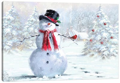 Snowman And Cardinal Canvas Art Print