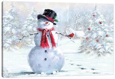 Snowman And Cardinal Canvas Art Print