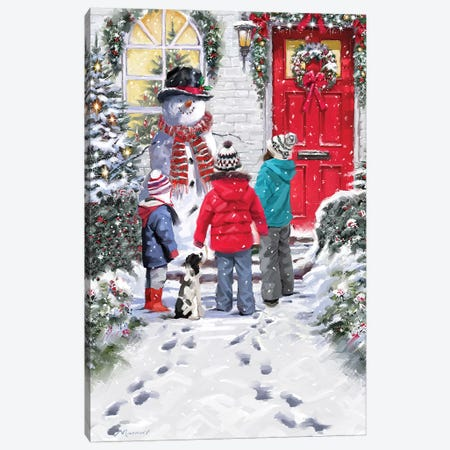 Snowman And Children Canvas Print #MNS619} by The Macneil Studio Canvas Wall Art