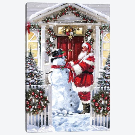 Snowman And Santa Canvas Print #MNS620} by The Macneil Studio Canvas Art Print