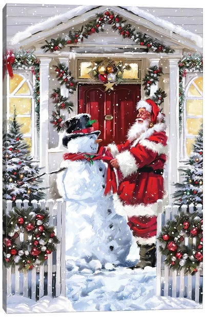 Snowman And Santa Canvas Art Print