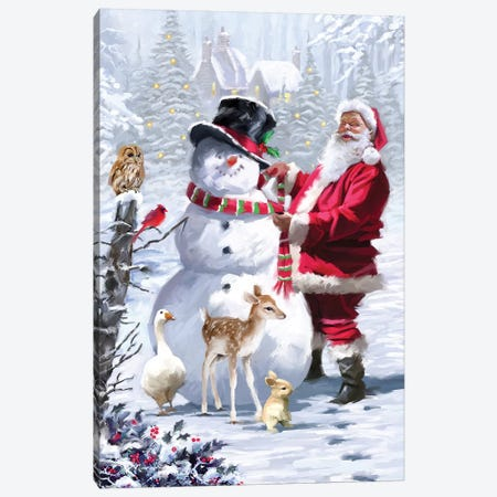 Snowman And Santa Canvas Print #MNS621} by The Macneil Studio Canvas Print