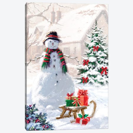 Snowman And Sledge Canvas Print #MNS622} by The Macneil Studio Canvas Art Print