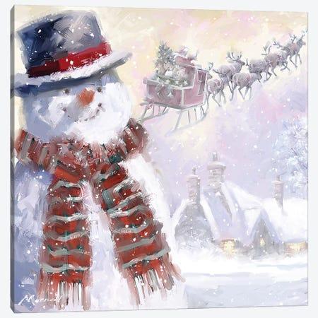 Snowman And Sleigh Canvas Print #MNS623} by The Macneil Studio Art Print