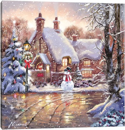Snowman Cottage Canvas Art Print