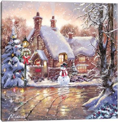 Snowman Cottage Canvas Art Print