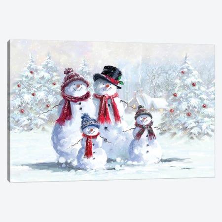 Snowman Family Canvas Print #MNS627} by The Macneil Studio Canvas Wall Art