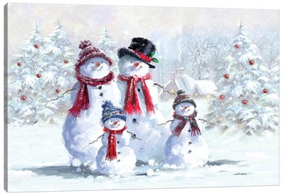 Snowman Family Canvas Art Print