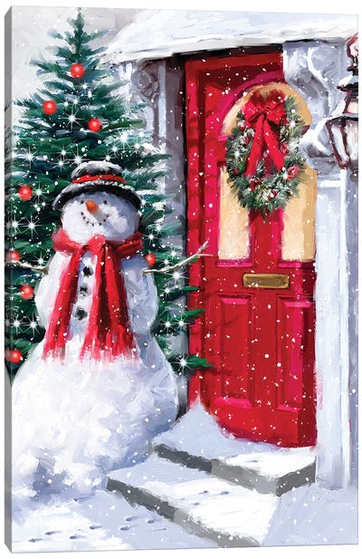 Snowman Outside Red Door II Canvas Art Print