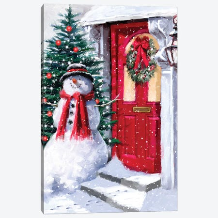 Snowman Outside Red Door II Canvas Print #MNS629} by The Macneil Studio Art Print