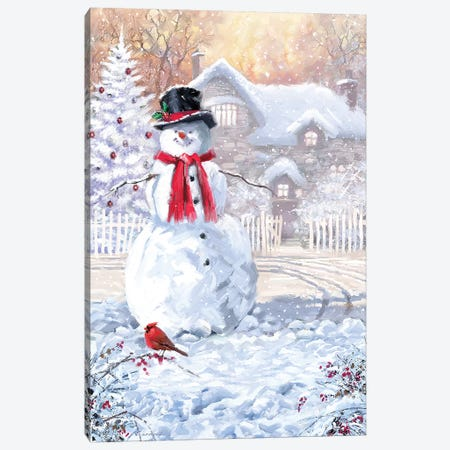 Snowmans New Scarf Canvas Print #MNS636} by The Macneil Studio Canvas Print