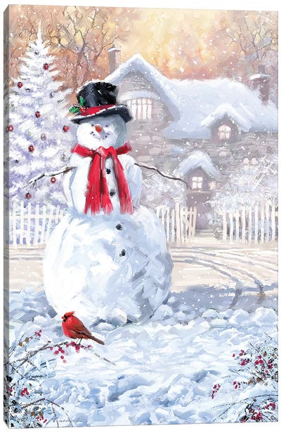 Snowmans New Scarf Canvas Art Print