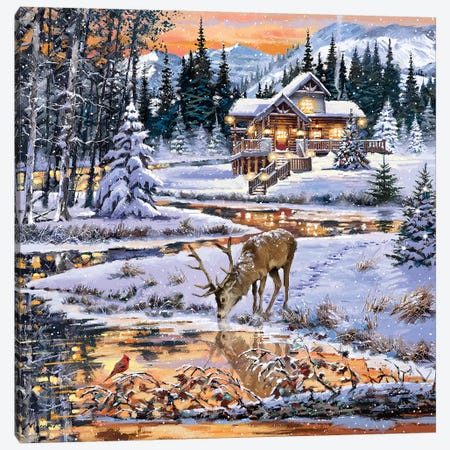 Snowy Cabin Canvas Print #MNS637} by The Macneil Studio Art Print