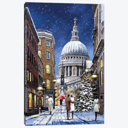 St Pauls At Christmas Canvas Print #MNS644} by The Macneil Studio Canvas Wall Art