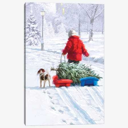 Tree On Sleds Canvas Print #MNS674} by The Macneil Studio Canvas Print