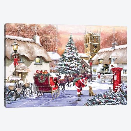 Village And Santa Canvas Print #MNS688} by The Macneil Studio Canvas Art Print