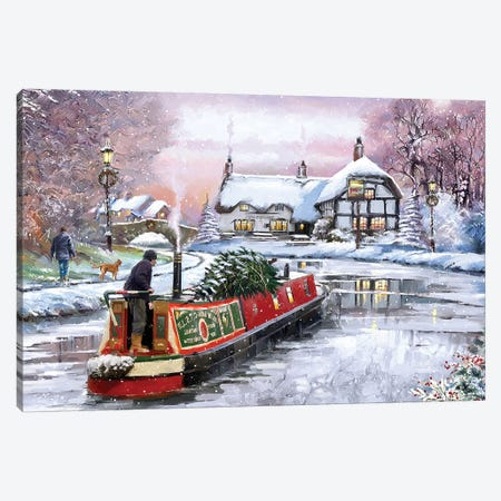 Winter Canal Boat Canvas Print #MNS719} by The Macneil Studio Canvas Print