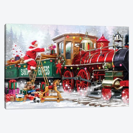 Xmas Express Canvas Print #MNS743} by The Macneil Studio Canvas Wall Art