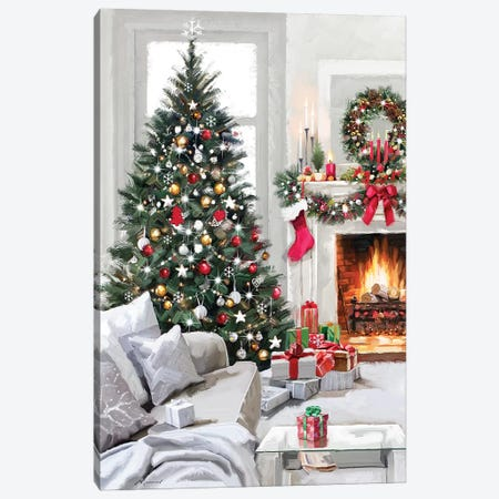 Xmas Fireside Canvas Print #MNS746} by The Macneil Studio Canvas Print