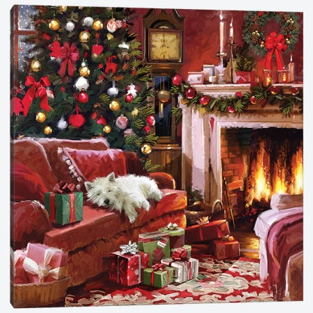 Xmas Fireside With Westie Canvas Print #MNS747} by The Macneil Studio Canvas Print