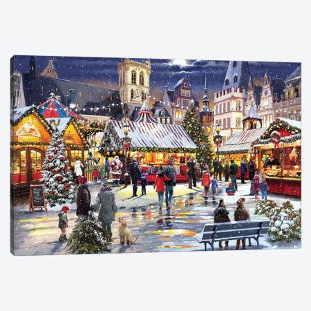 Xmas Market Canvas Print #MNS755} by The Macneil Studio Canvas Artwork