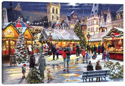 Xmas Market Canvas Art Print