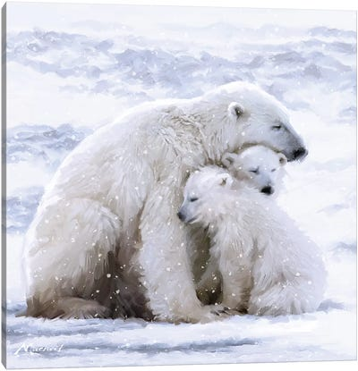 Polar Bear Cubs Canvas Art Print