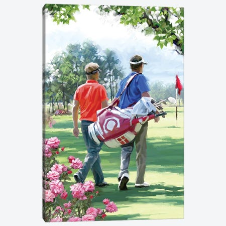 Golfers Canvas Print #MNS93} by The Macneil Studio Art Print
