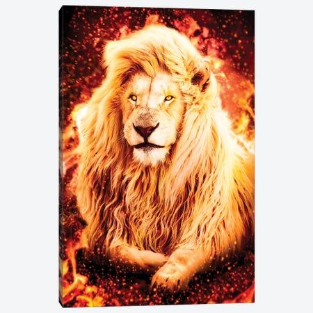 Fire Lion Canvas Print #MNU20} by Manuel Luces Canvas Wall Art