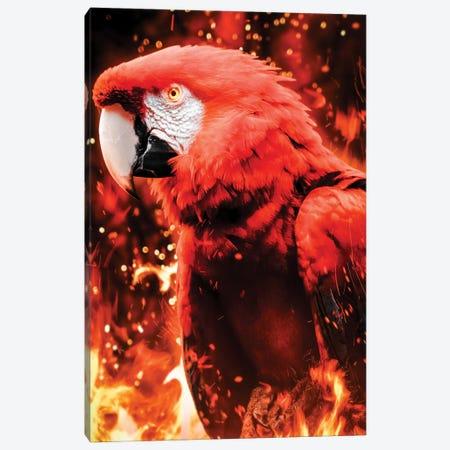 Fire Parrot Canvas Print #MNU21} by Manuel Luces Canvas Wall Art